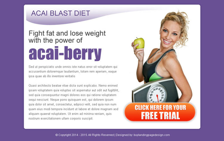 acai blast diet call to action converting ppv landing page design