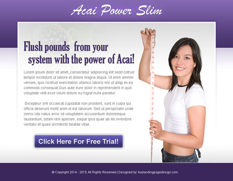 acai power slim effective and converting weight loss ppv landing page design