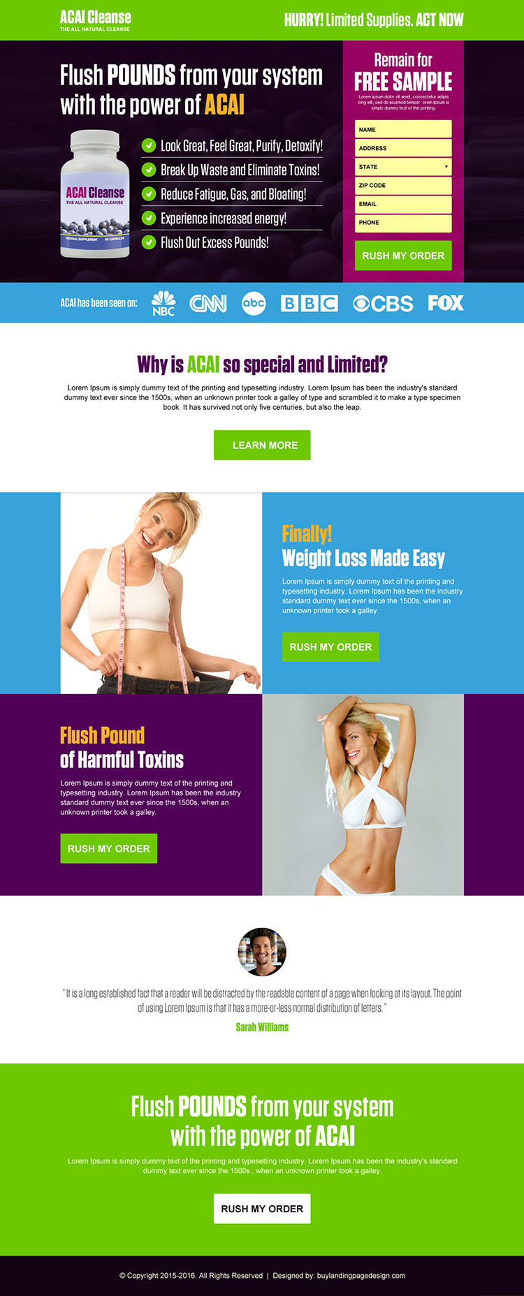 acai berry weight loss product lead magnet landing page design