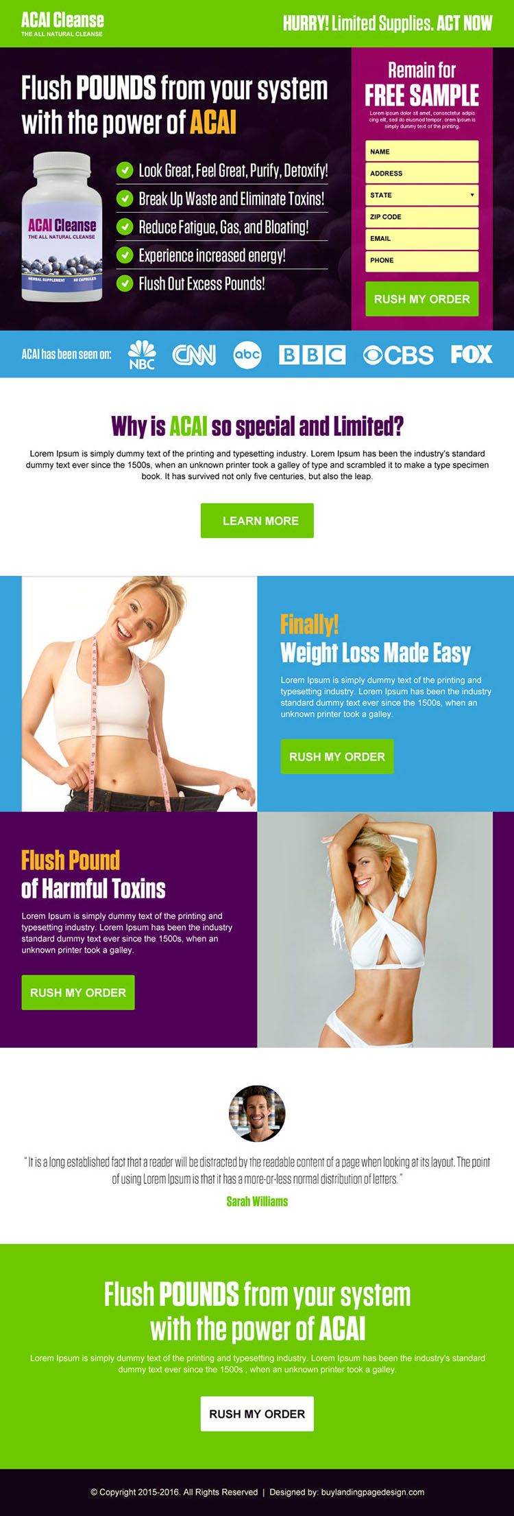acai cleanse weight loss responsive landing page design