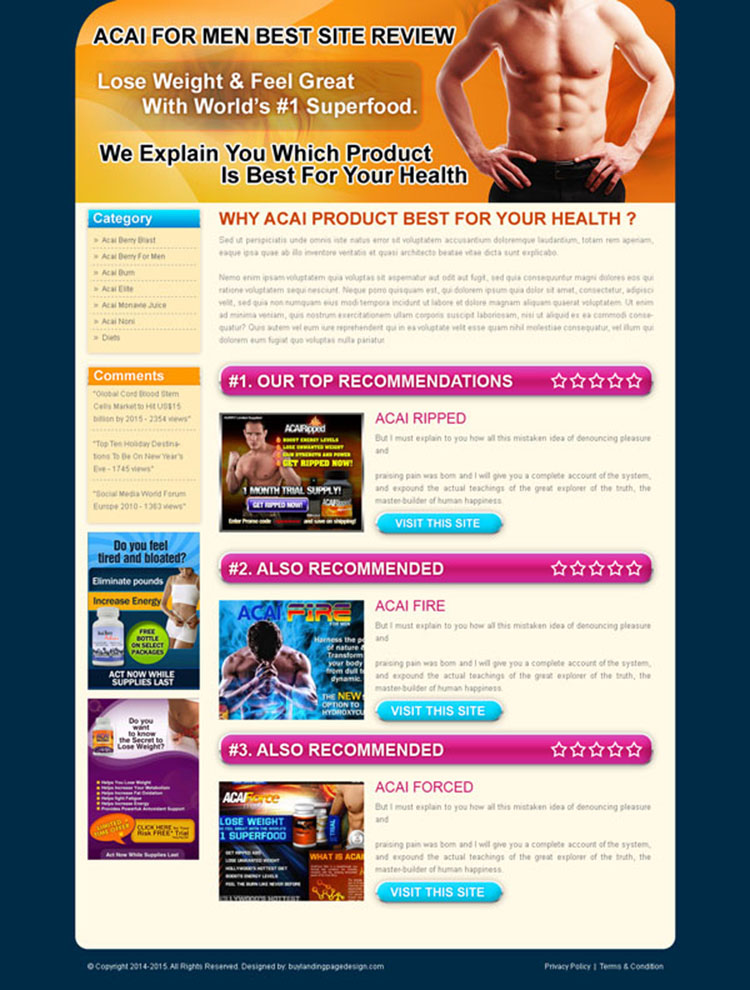 acai for men top 3 website review converting landing page design template