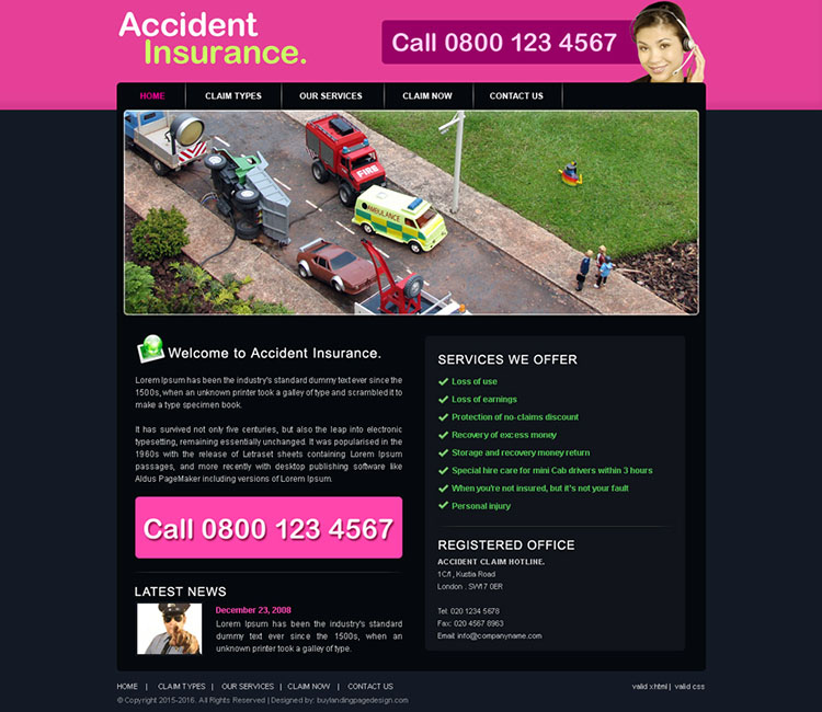 accident insurance website template design psd for sale