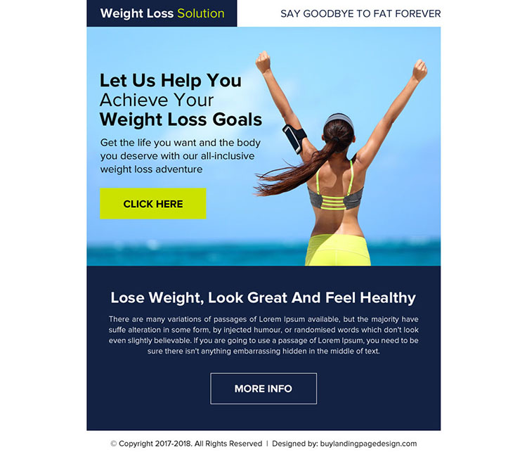 weight loss goals ppv landing page design