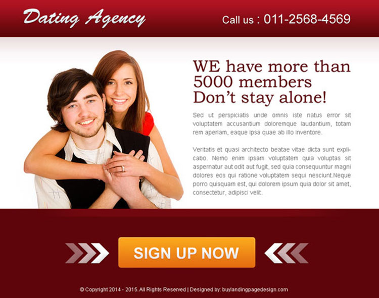 dating agency converting ppv landing page design