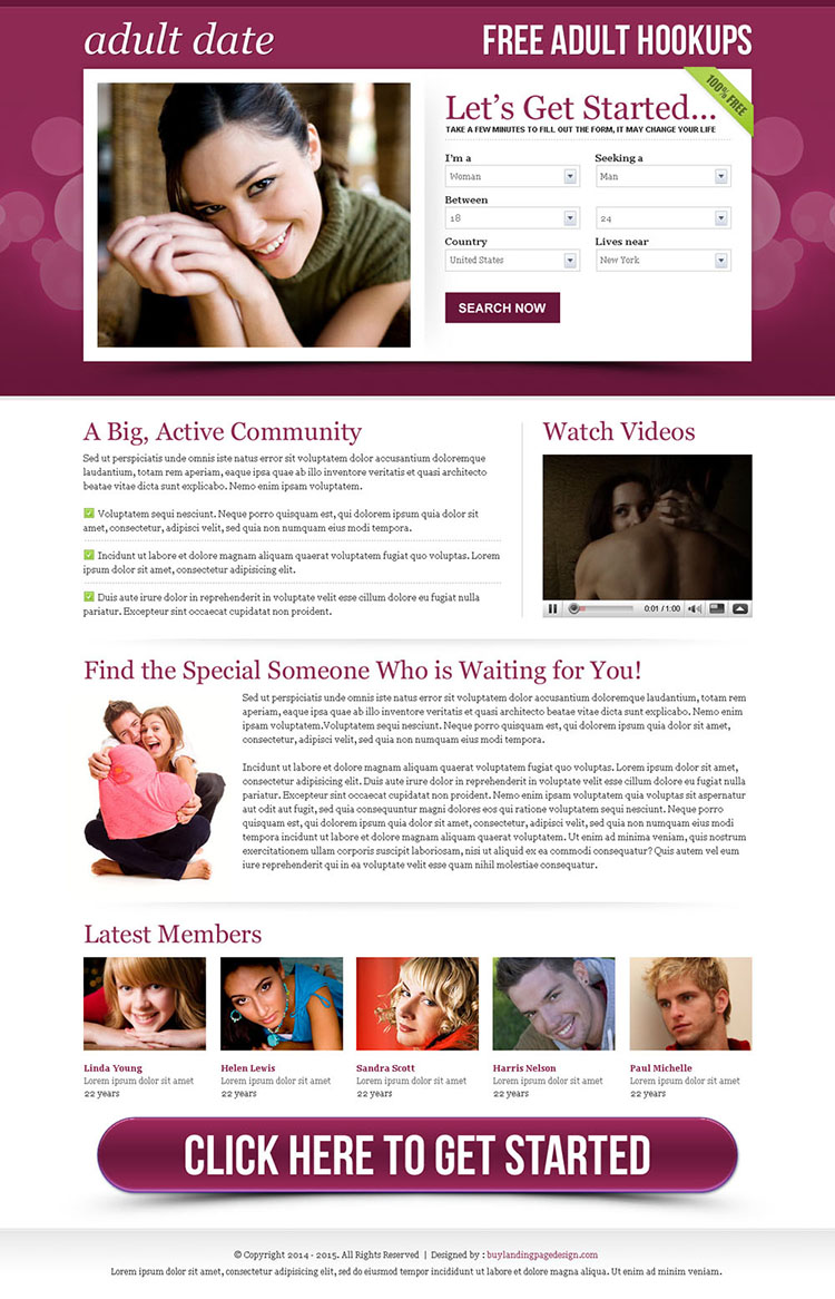 adult dating effective lead capture squeeze page design
