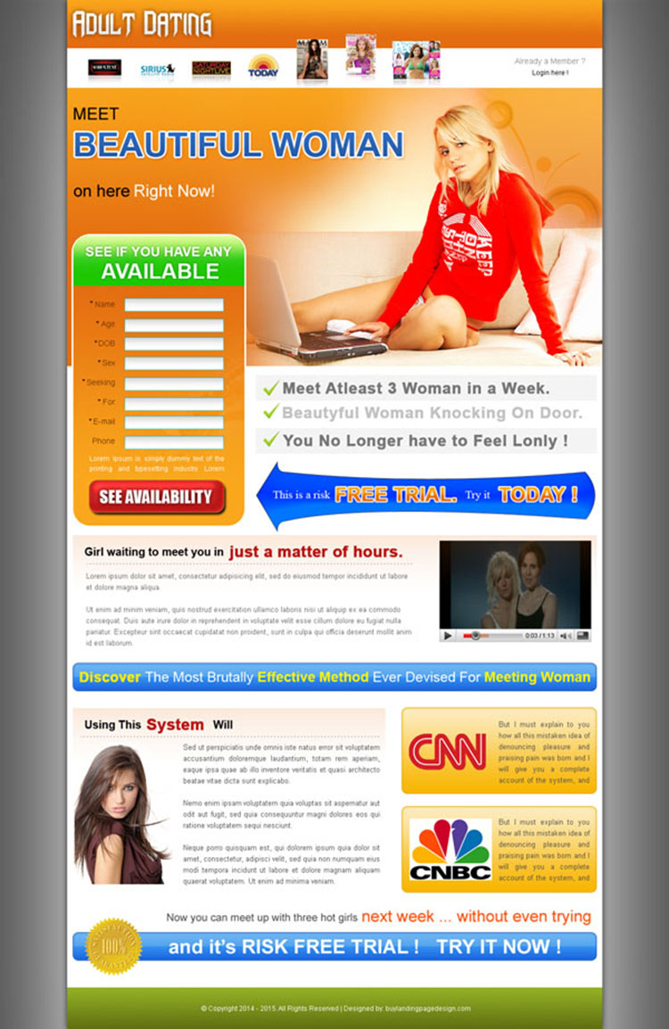 adult dating lead capture landing page design for sale