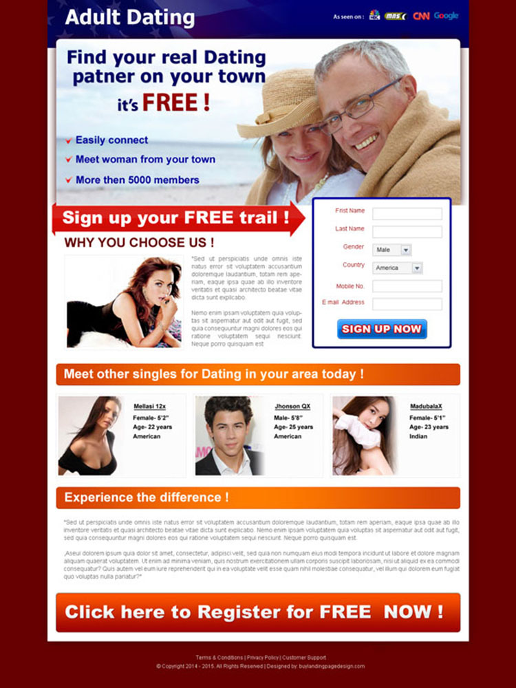 adult dating clean and converting lead capture landing page design for sale