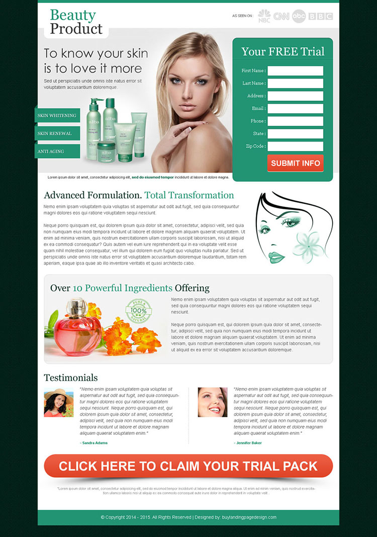 effective beauty product for your glowing skin attractive and converting landing page design