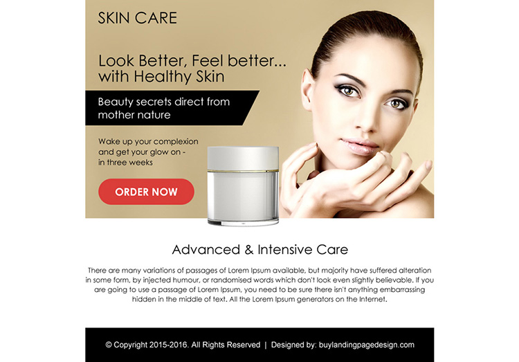 advance intensive skin care ppv landing page design