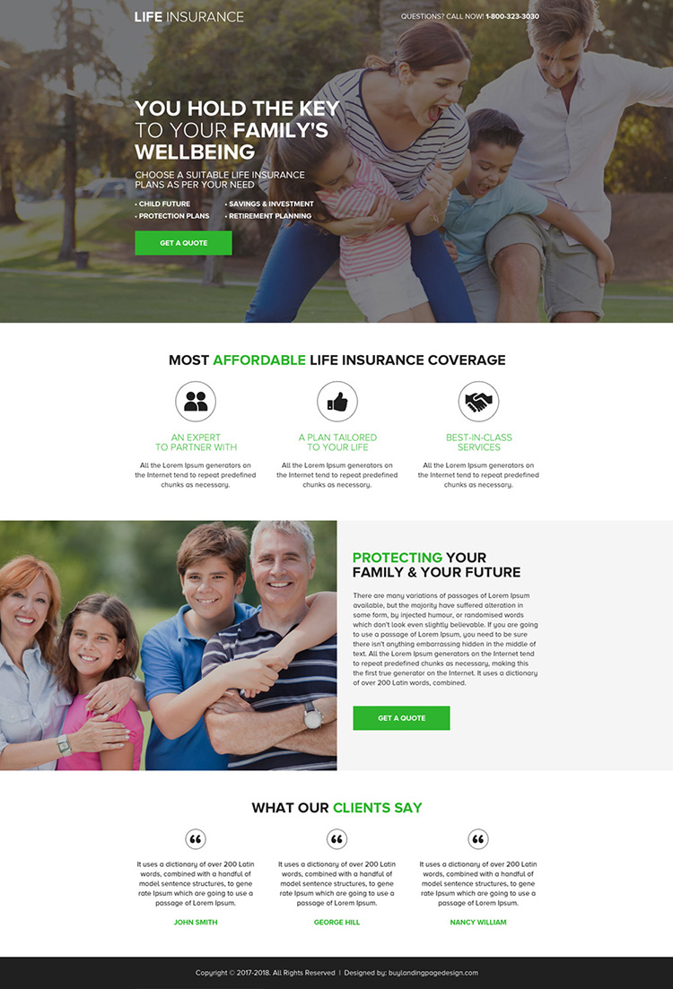 affordable life insurance coverage landing page design