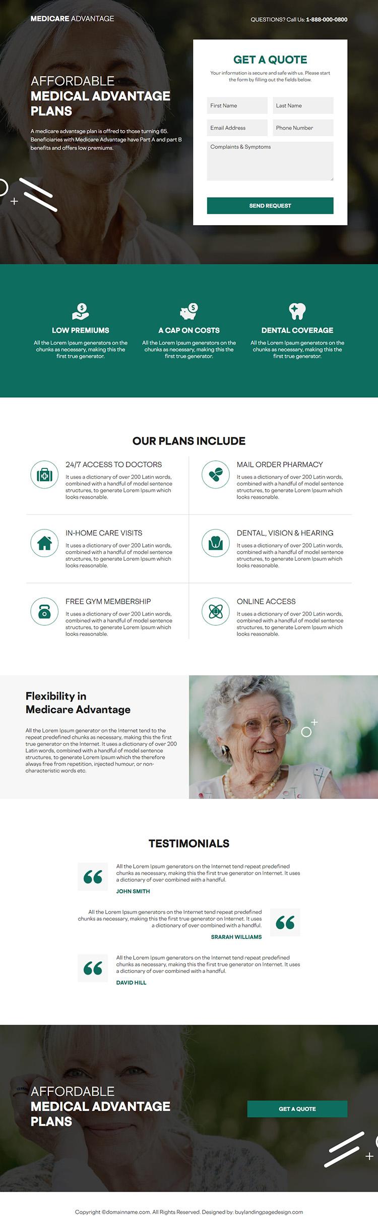 medicare advantage responsive lead capture landing page