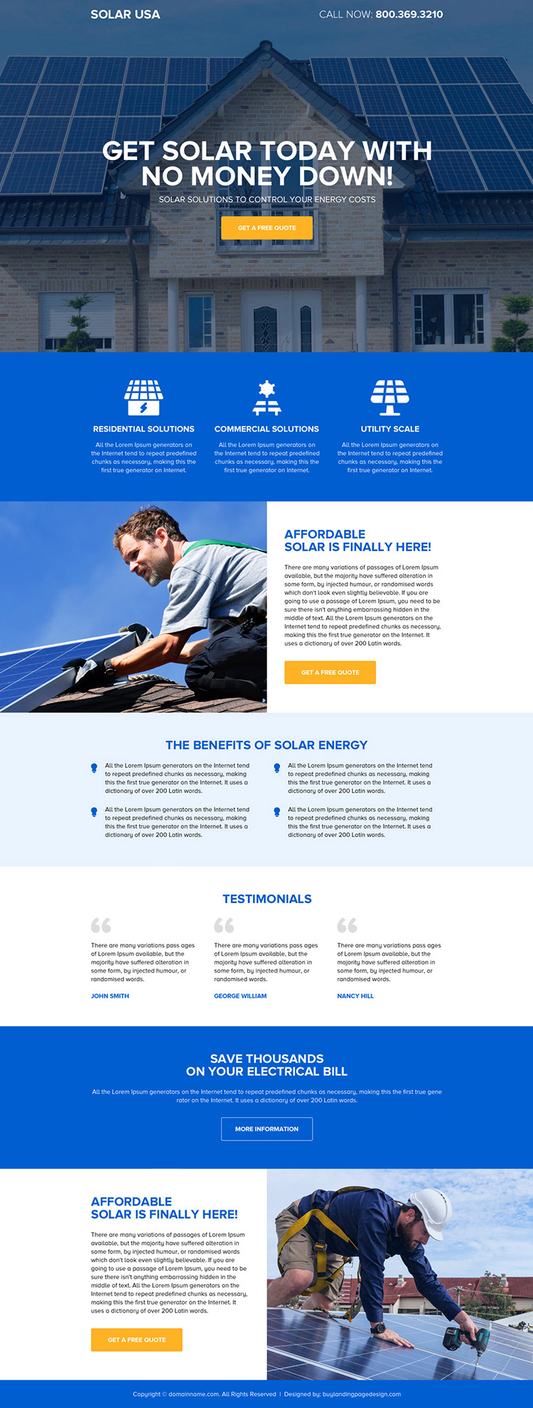 affordable solar energy responsive landing page design