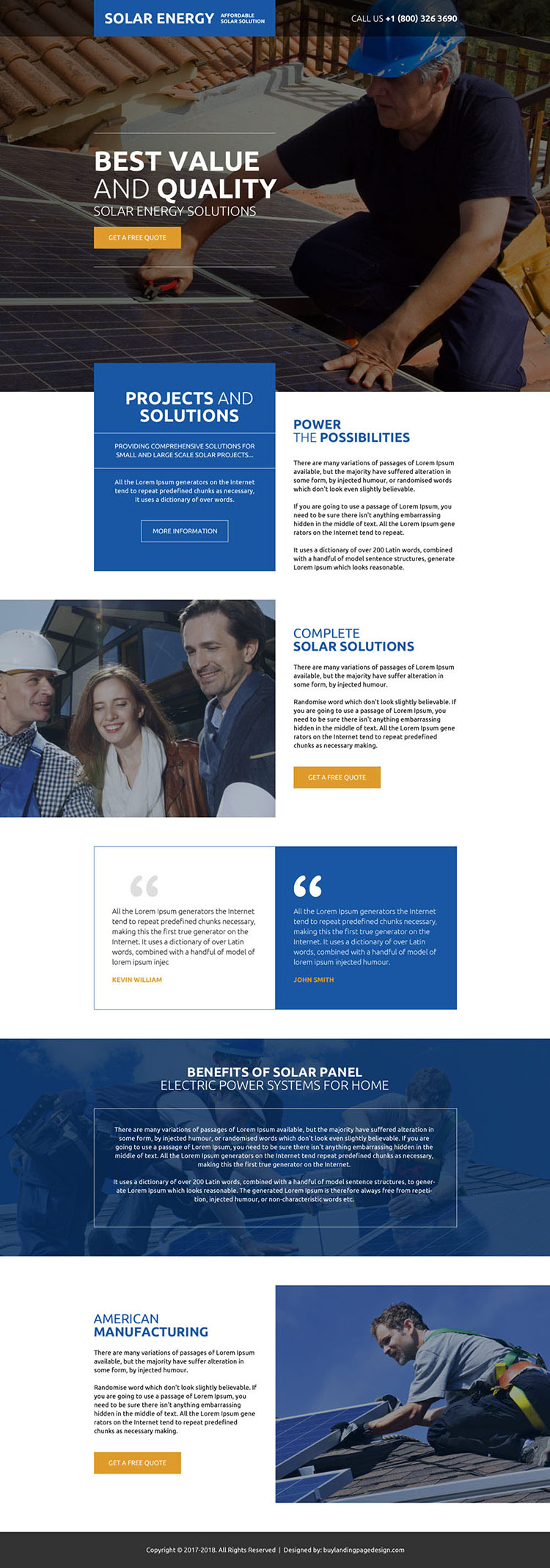 affordable solar solutions free quote landing page design