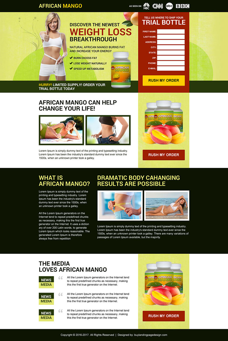african mango weight loss supplement landing page design