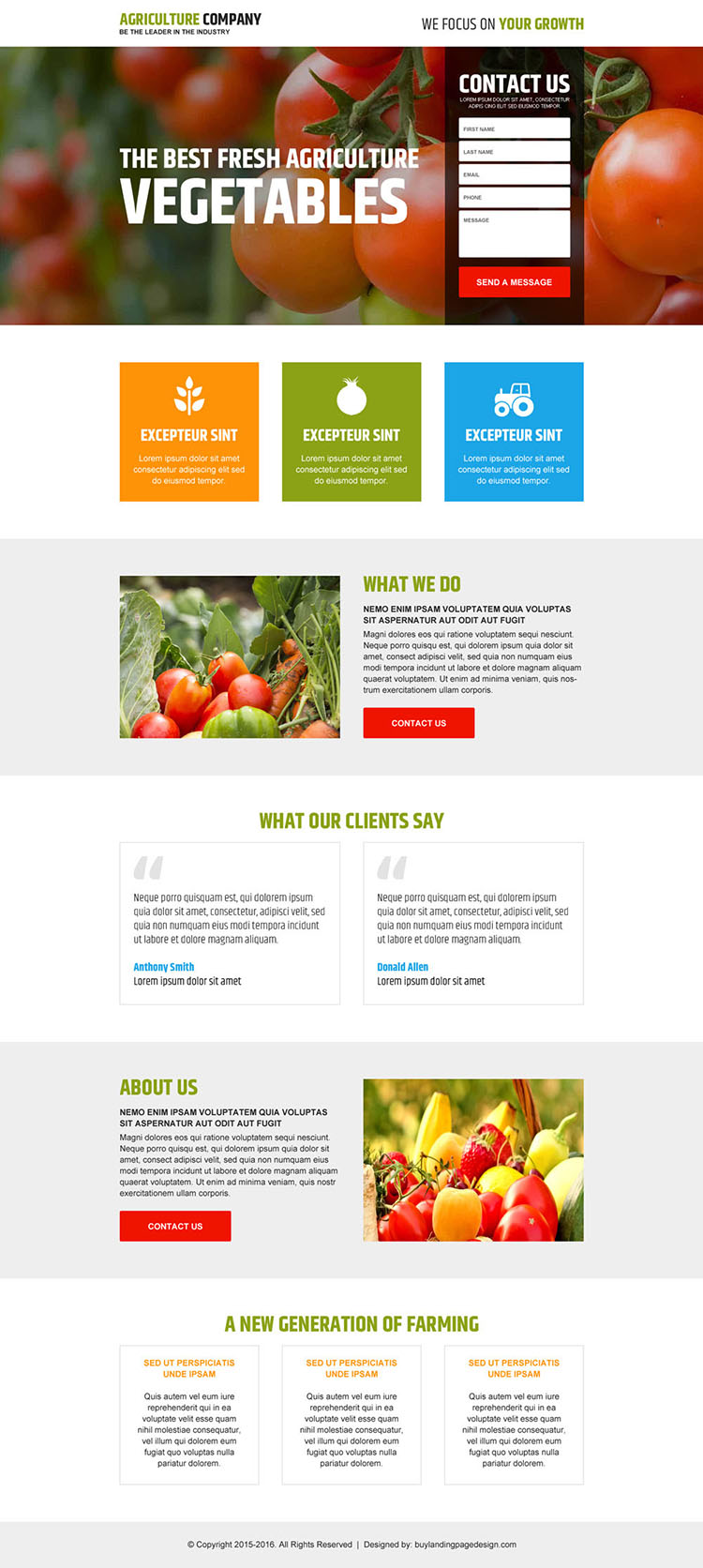 agriculture company responsive lead capturing landing page design