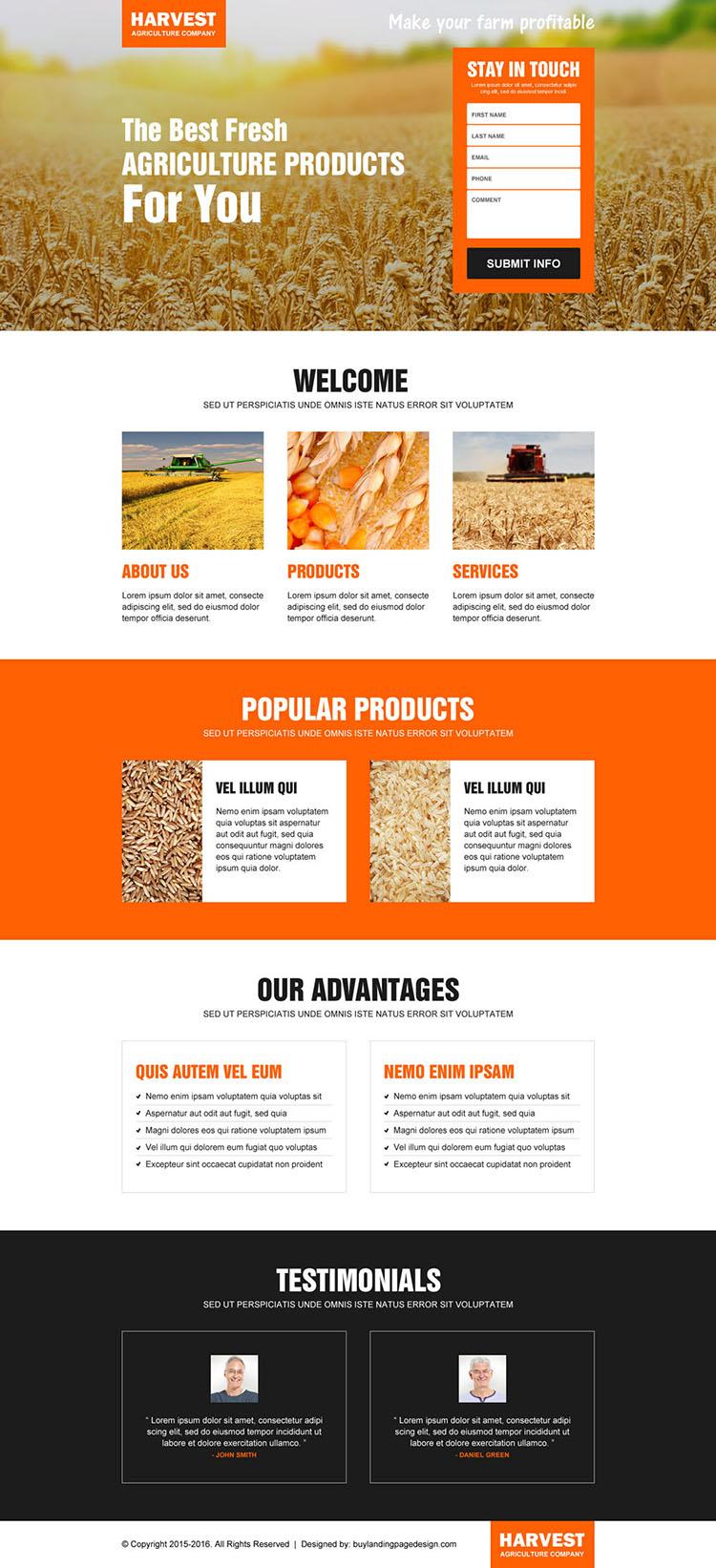 agriculture company lead capture landing page design