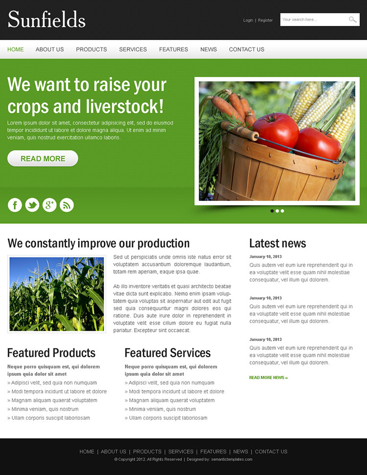 agriculture crops clean and creative html website template