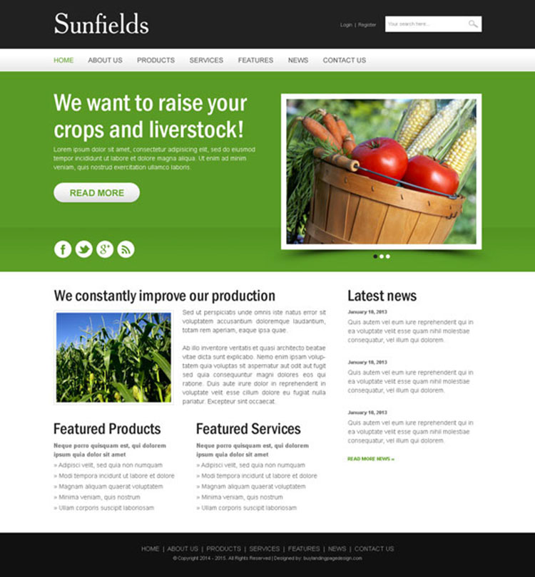 agriculture crops website design psd