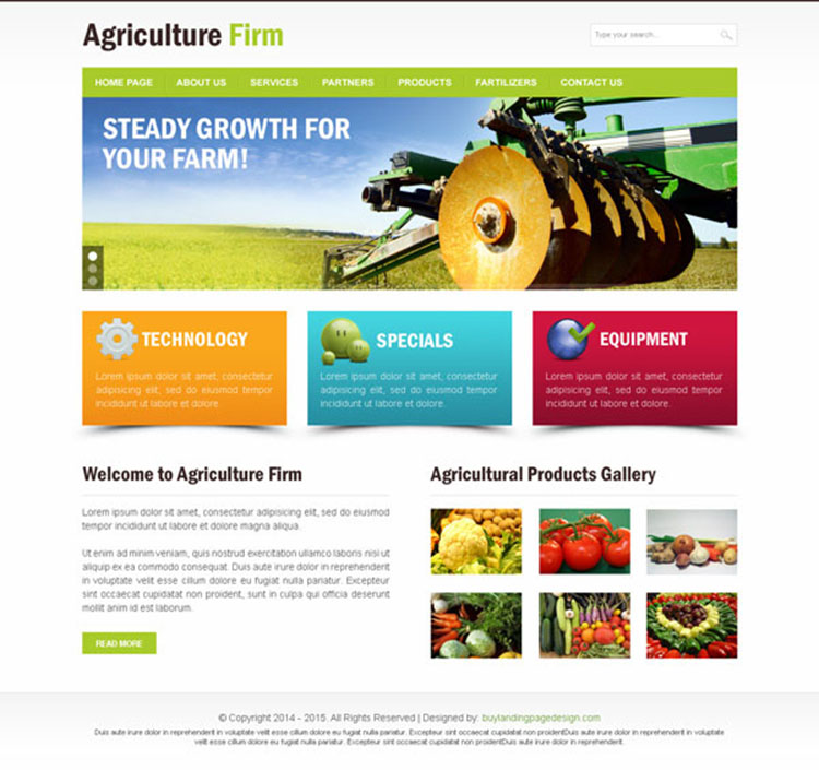 Agriculture firm clean website template PSD design