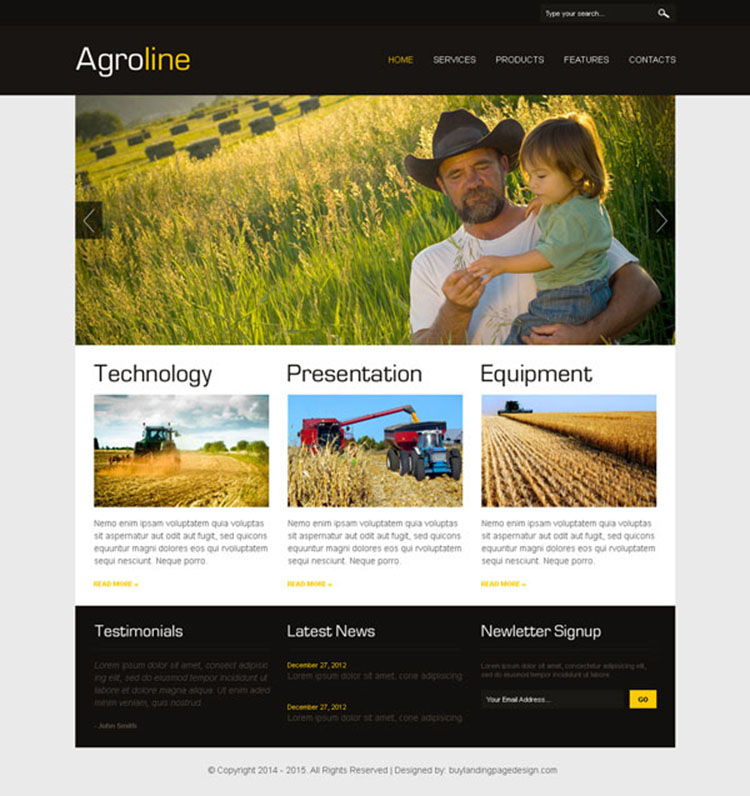 website design psd for agriculture company