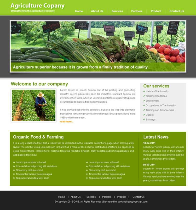 agriculture website template design PSD for sale