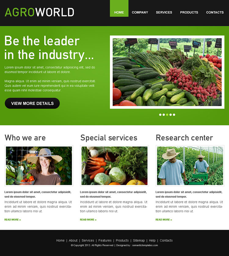 agro world attractive and converting html website template design