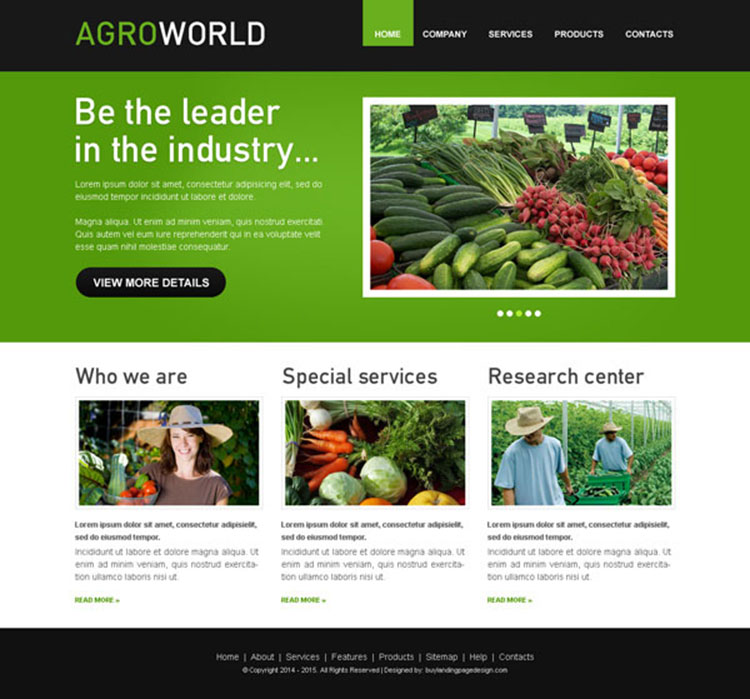 agroworld clean website template psd for agriculture company