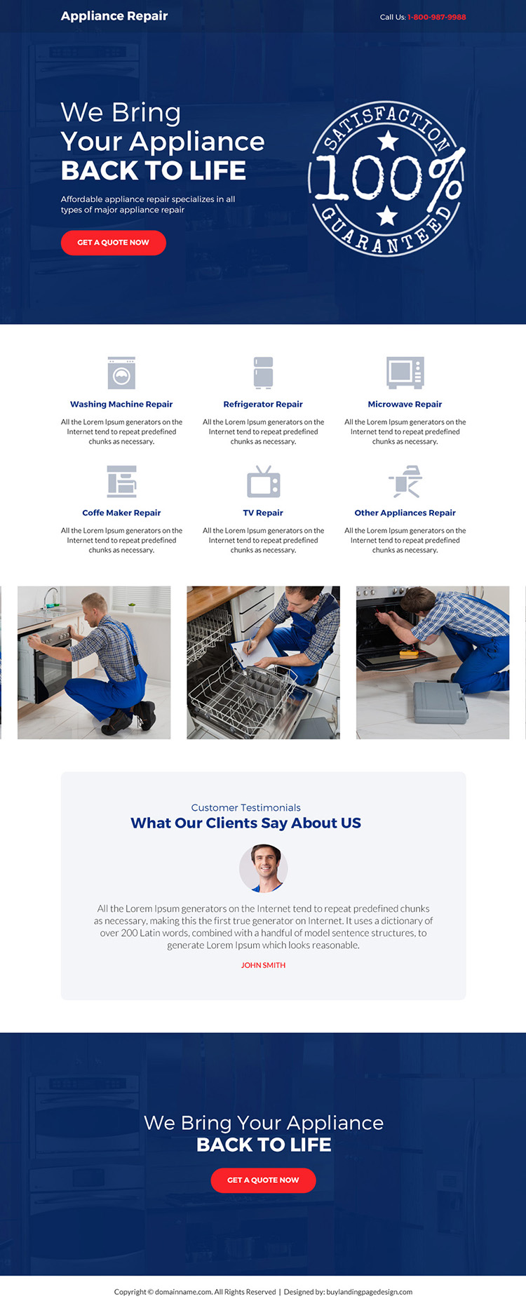 affordable appliance repair service bootstrap landing page