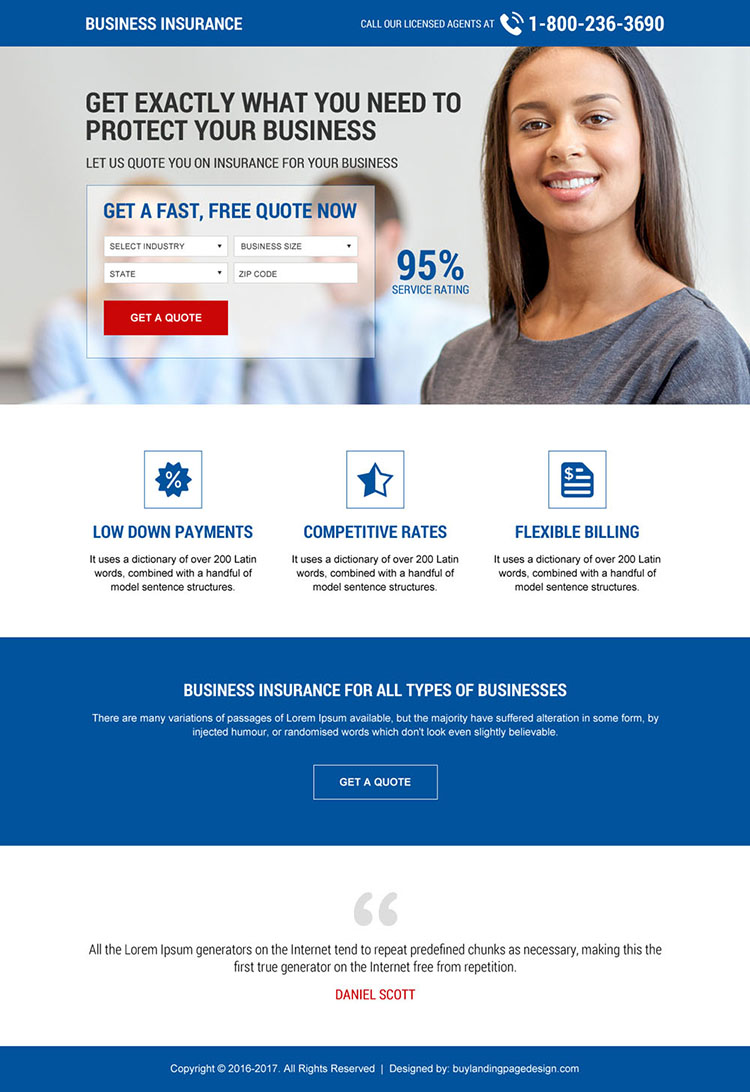 business insurance mini landing page design template