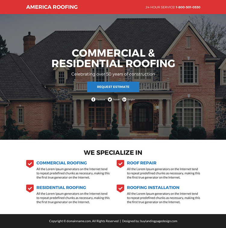 commercial and residential roofing services funnel landing page design