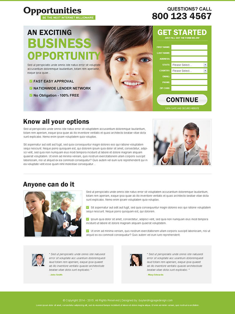 be the next internet millionaire clean and converting small lead capture landing page design