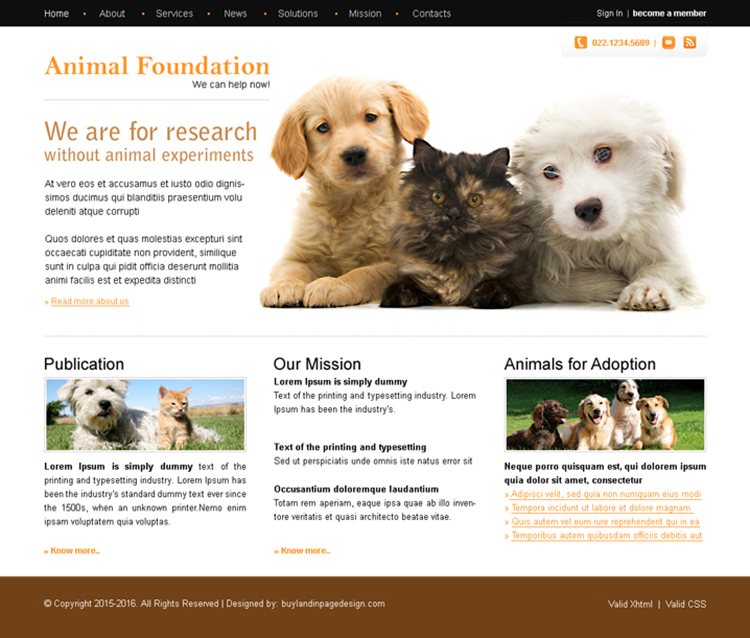 animal foundation clean website template design psd for sale