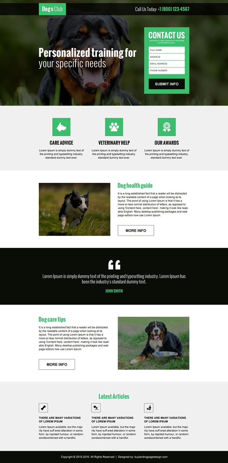 animals and pets club lead gen landing page design