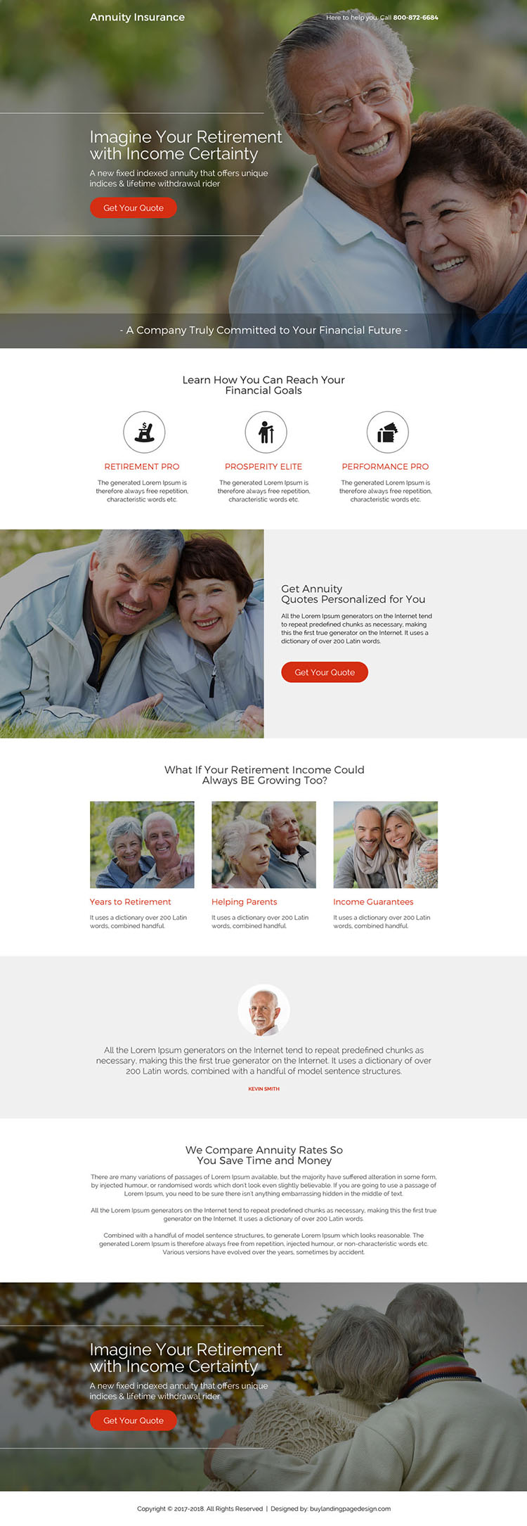 modern and professional annuity insurance landing page design