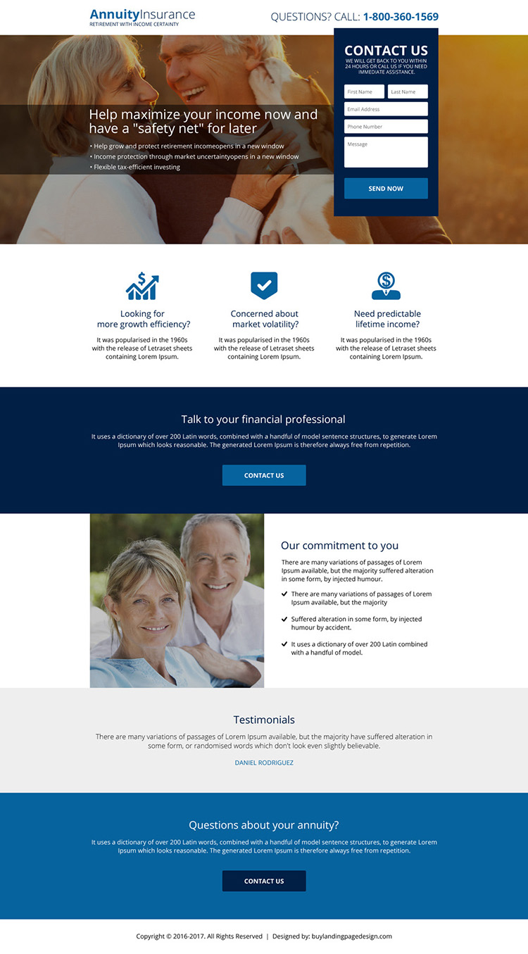 annuity insurance plans landing page design