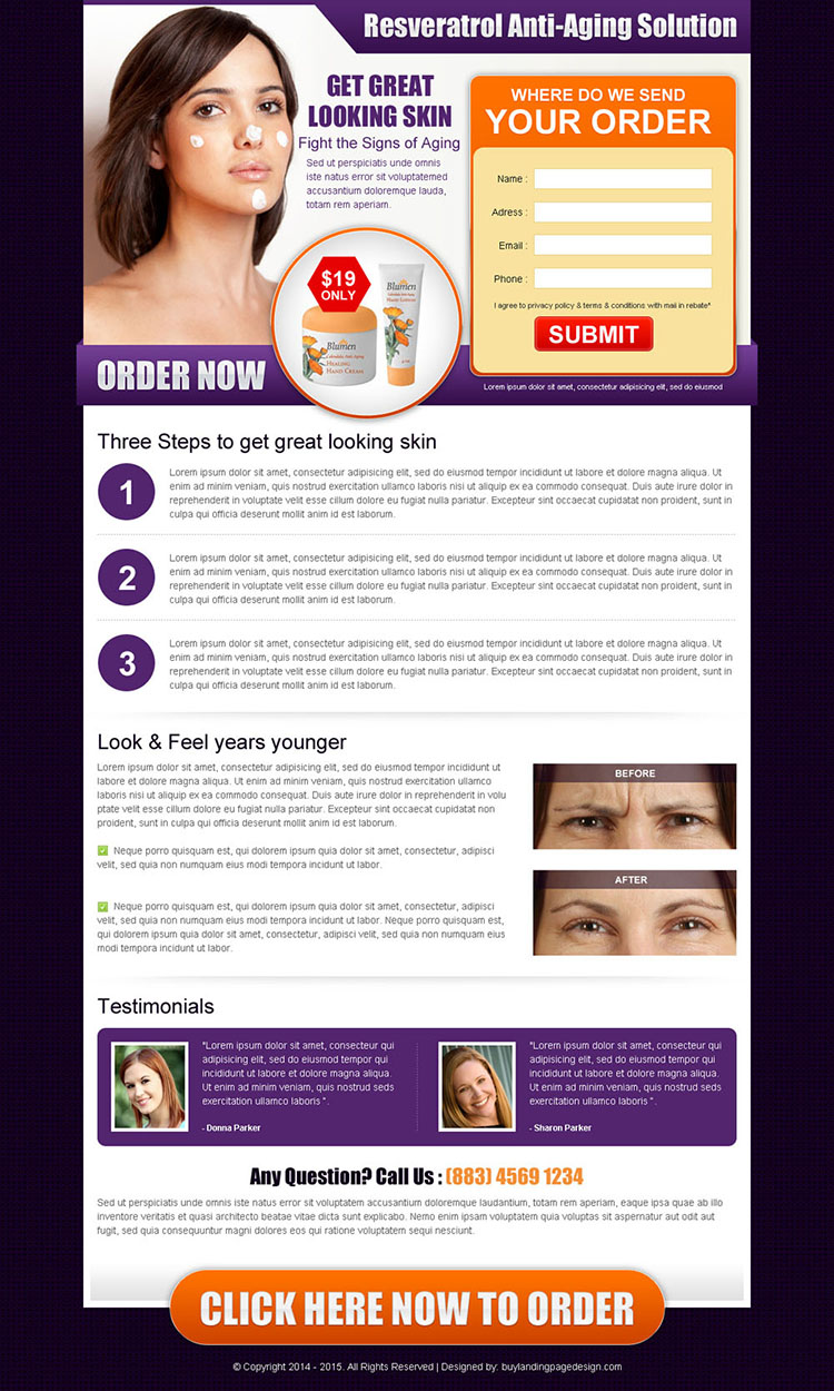 anti ageing skin care product converting html landing page design template