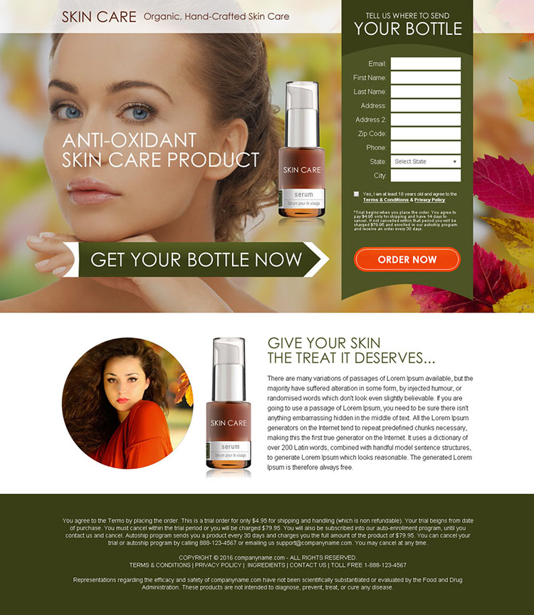 anti oxidant skin care bank page design