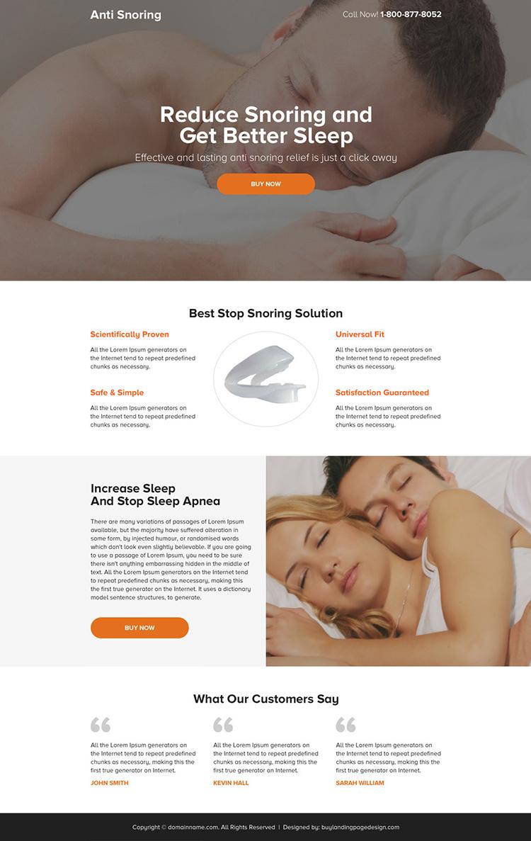 anti snoring mini responsive landing page design