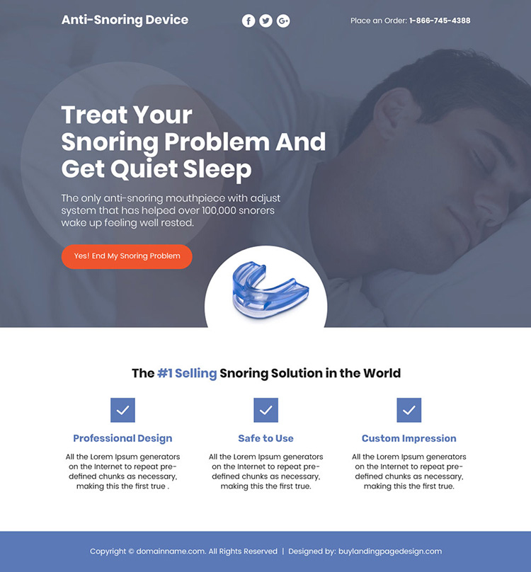 anti snoring device selling responsive sales funnel design