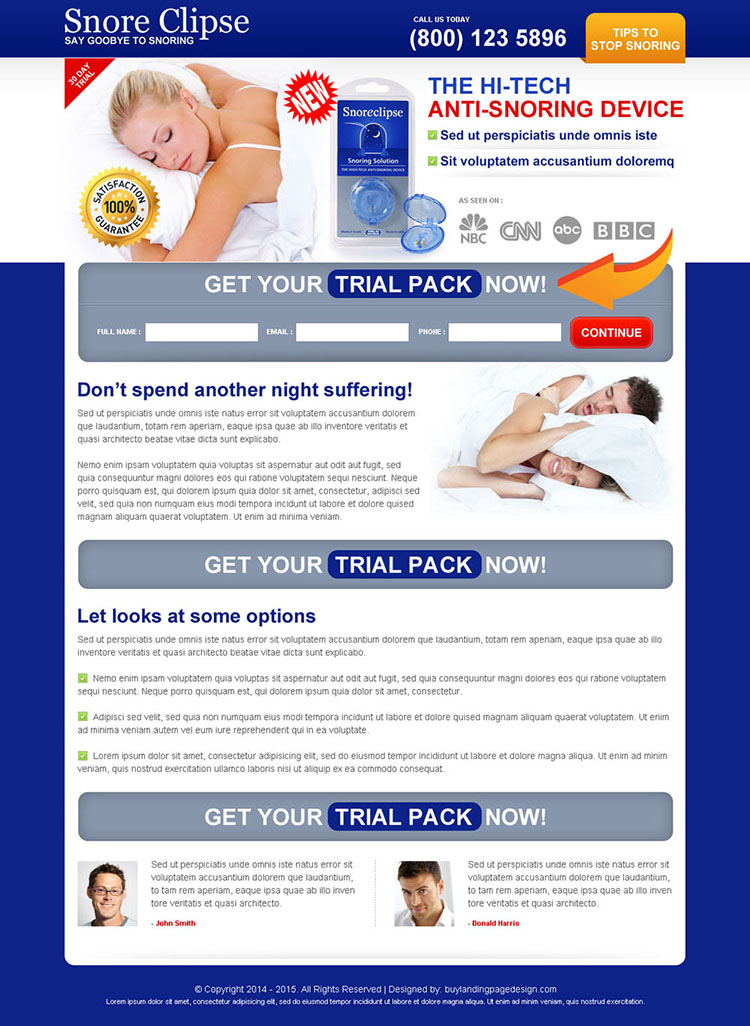anti snoring device lead capture clean and effective landing page design
