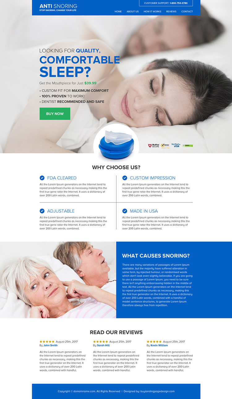 anti snoring mouthpiece selling responsive website design