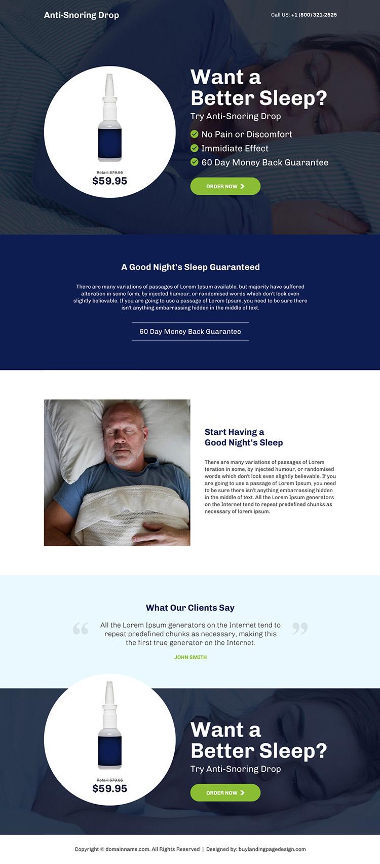 anti snoring drop selling responsive landing page