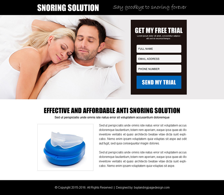 anti snoring product free trial lead gen ppv landing page design