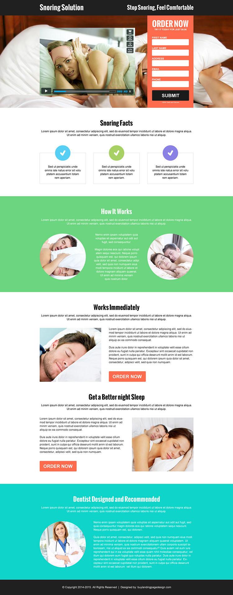 anti snoring lead capture responsive video landing page design