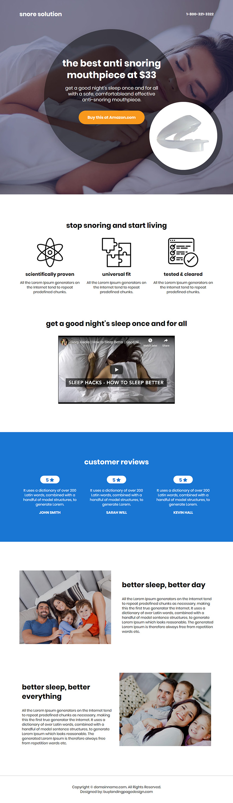 anti snoring mouthpiece selling responsive call to action landing page design