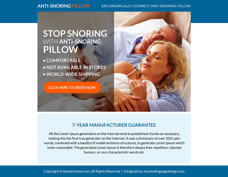 anti snoring pillow selling ppv landing page design