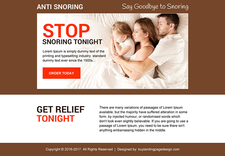 anti snoring best converting ppv landing page design