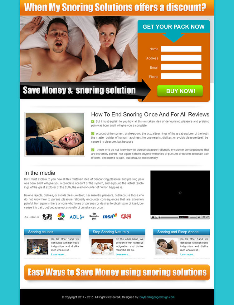 clean anti snoring lead capture landing page