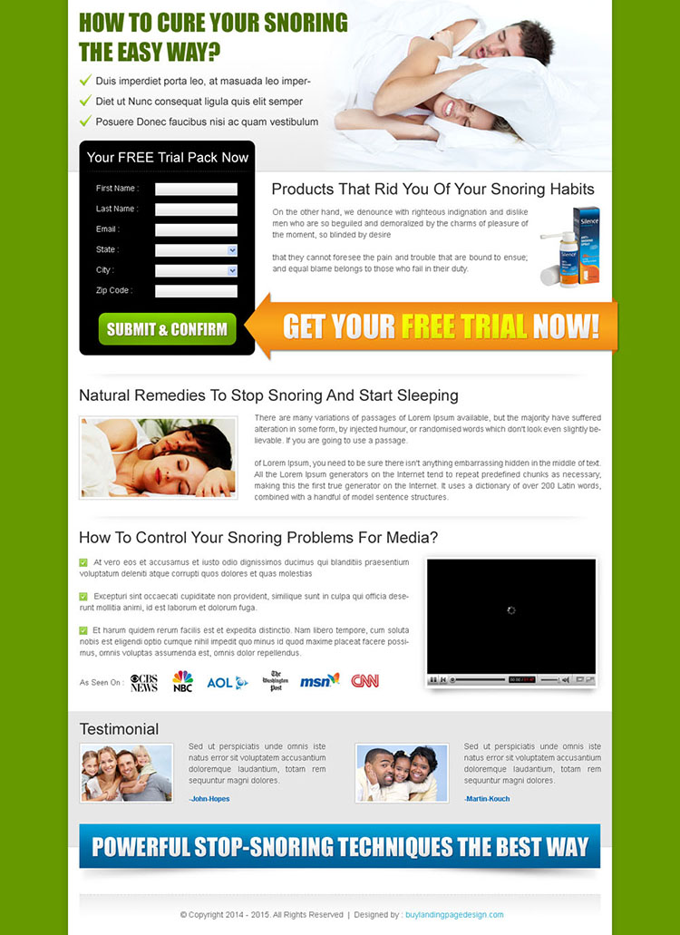 anti snoring pillow lead capture landing page design to boost your traffic and sale