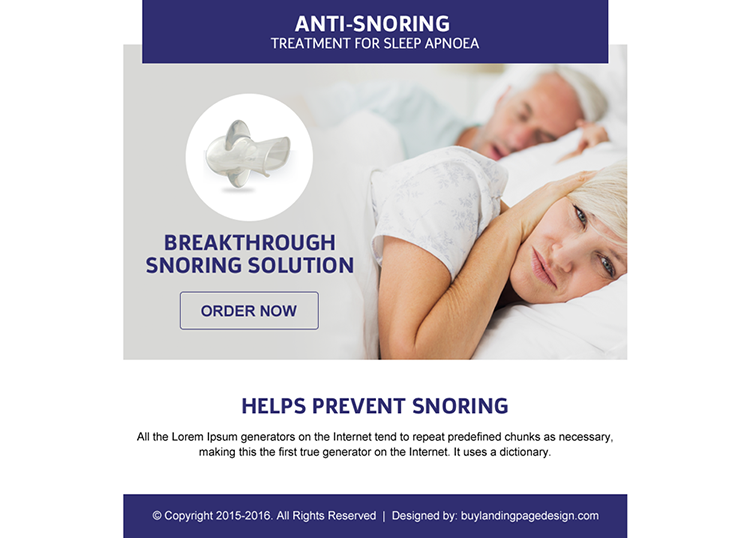 anti snoring device selling ppv landing page design